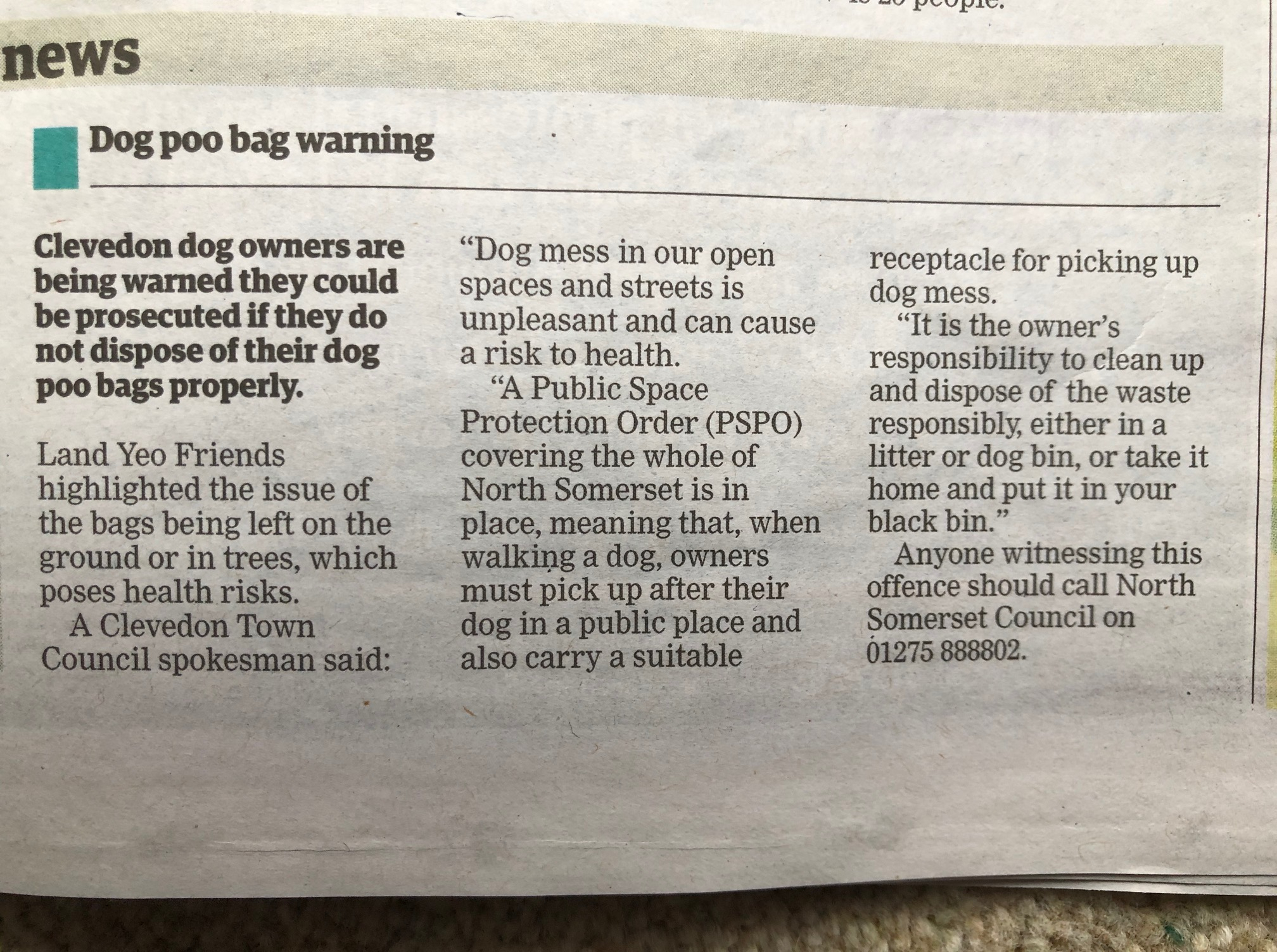 North Somerset Times articel feb 21